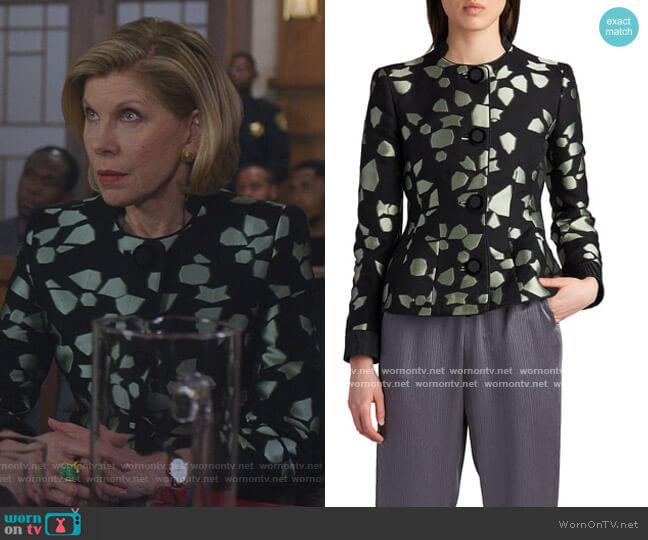 Peplum Silk Jacquard Jacket by Giorgio Armani worn by Diane Lockhart (Christine Baranski) on The Good Fight