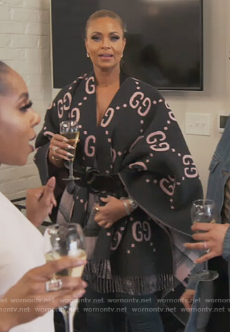 Gizelle's Gucci logo poncho on The Real Housewives of Potomac