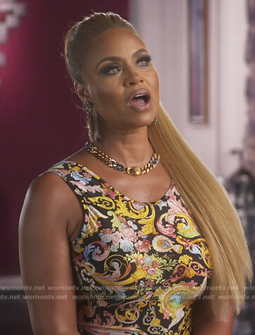 Karen's baroque printed blouse on The Real Housewives of Potomac