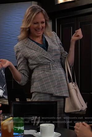 Glady's Corbin's gray plaid belted blazer on General Hospital