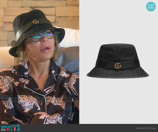GG Canvas Bucket Hat with Double G by Gucci worn by Lisa Rinna  on The Real Housewives of Beverly Hills