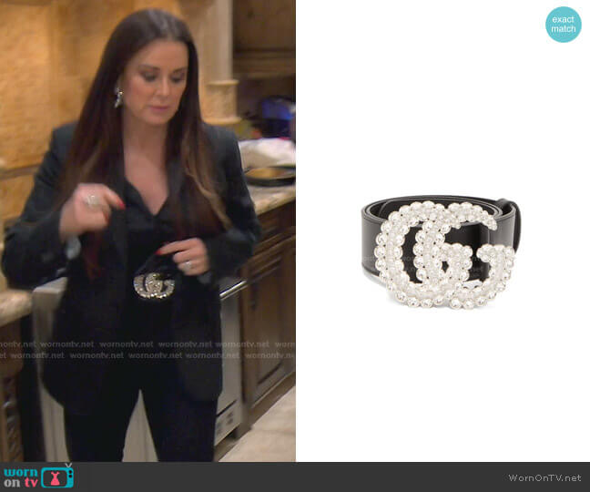 GG crystal-embellished leather belt by Gucci worn by Kyle Richards  on The Real Housewives of Beverly Hills