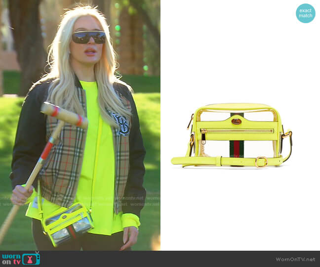 Ophida Transparent Cross-Body Bag by Gucci worn by Erika Jayne  on The Real Housewives of Beverly Hills