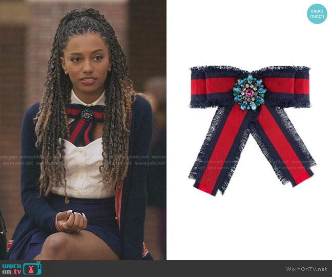 Web Grosgrain Bow Brooch by Gucci worn by Monet de Haan (Savannah Lee Smith) on Gossip Girl