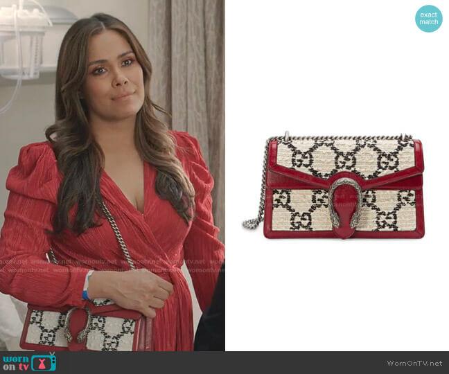 Tweed Dionysus Shoulder Bag by Gucci worn by Cristal Jennings (Daniella Alonso) on Dynasty