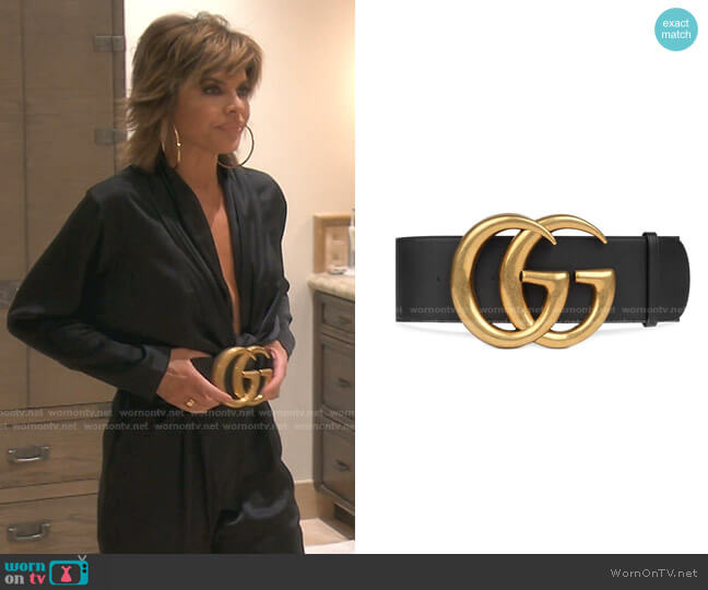 Wide leather belt with Double G by Gucci worn by Lisa Rinna  on The Real Housewives of Beverly Hills