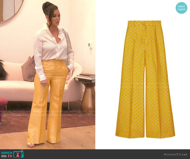 GG Lamé Wide Leg Trousers by Gucci worn by Kyle Richards  on The Real Housewives of Beverly Hills