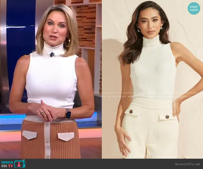 Caroline Sweater Top by Guess worn by Amy Robach  on Good Morning America
