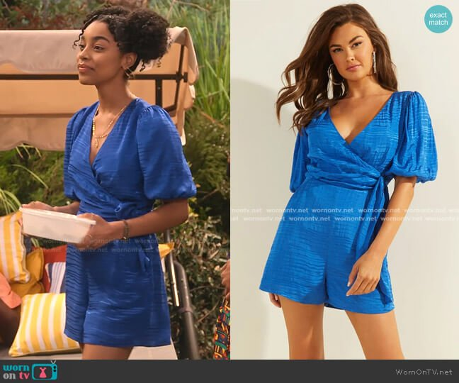 Alyssandra Tie-Front Romper by Guess worn by Jadah Marie on Family Reunion