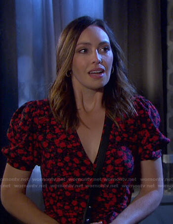 Gwen's floral print wrap dress on Days of our Lives