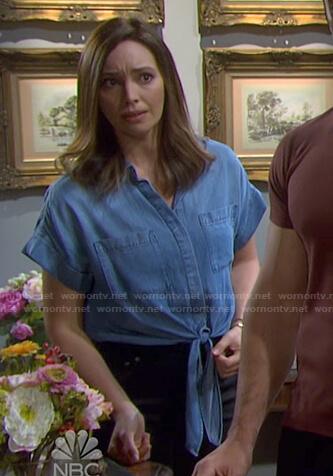 Gwen's tie front chambray shirt on Days of our Lives