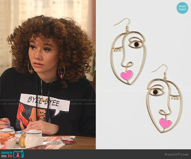 Large Earrings by H&M worn by Jade (Talia Jackson) on Family Reunion
