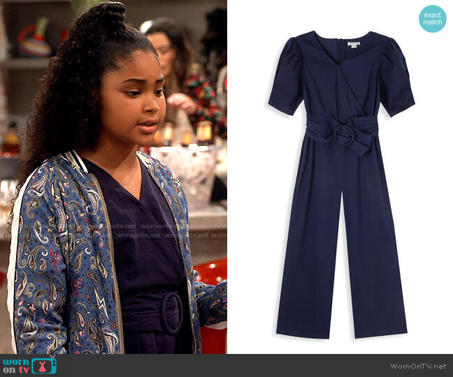 Habitual Kids Girl's Wrap-Front Belted Jumpsuit worn by Millicent (Jaidyn Triplett) on iCarly