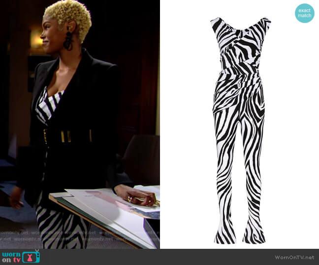 Halpern Zebra Print Off Shoulder Jumpsuit worn by Paris Buckingham (Diamond White) on The Bold & the Beautiful