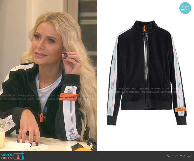 Velvet Tape Track Jacket by Heron Preston worn by Dorit Kemsley  on The Real Housewives of Beverly Hills