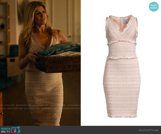 Herve Leger Tweed Fringe Dress worn by Nicole Mossbacher (Connie Britton) on The White Lotus