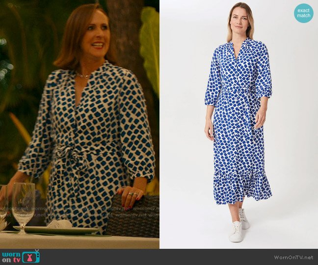 Hobbs Magda Dress in Cobalt White worn by Kitty Patton (Molly Shannon) on The White Lotus