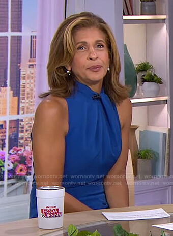 Hoda's blue twisted halter jumpsuit on Today