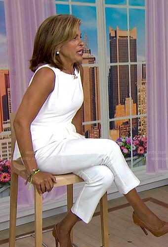 Hoda's white peplum top and pants on Today
