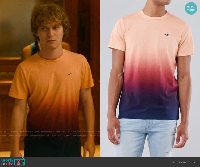 Hollister Must-have Crew Neck T-shirt in Ombre worn by Quinn Mossbacher (Fred Hechinger) on The White Lotus