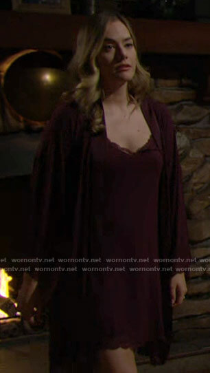 Hope's burgundy slip and robe on The Bold and the Beautiful