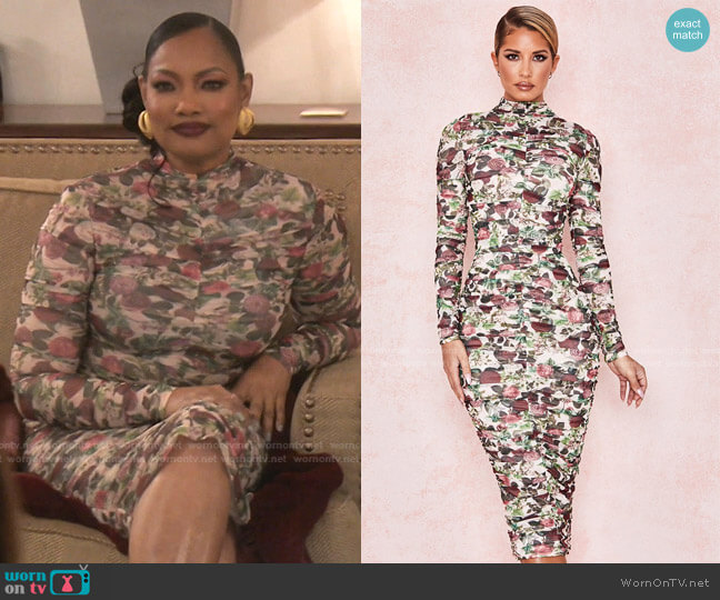 Roseanne Vintage Floral Ruched Midi Dress by House of CB worn by Garcelle Beauvais  on The Real Housewives of Beverly Hills