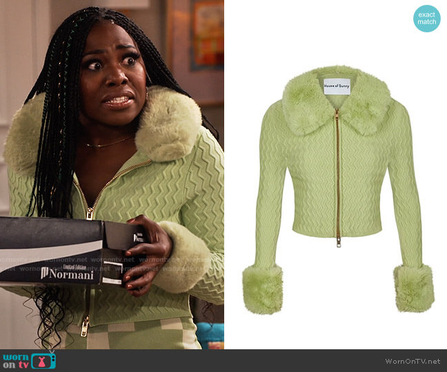 House of Sunny Island Peggy Cardi worn by Harper (Laci Mosley) on iCarly