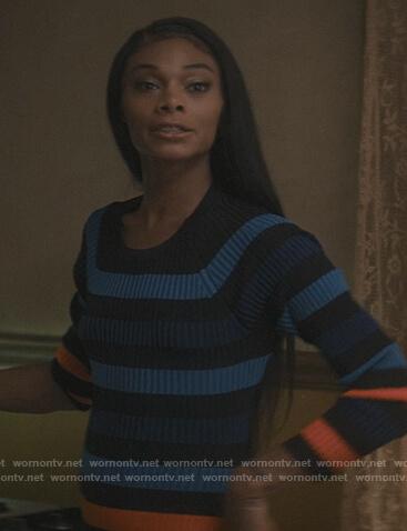 Imani's blue stripe ribbed dress on The Chi