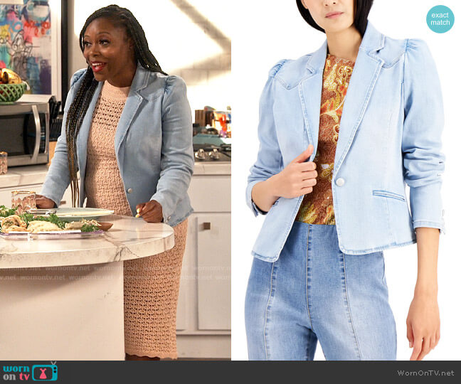 INC International Concepts Puff-Sleeve Denim Blazer worn by Maeve (Lyric Lewis) on iCarly