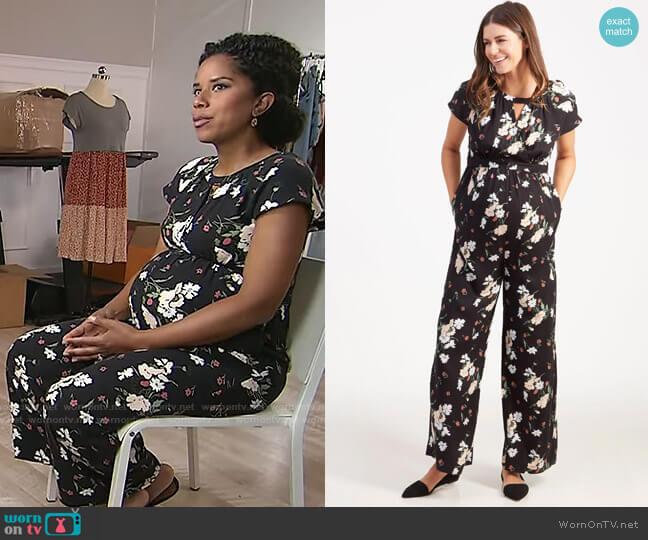 Ingrid & Isabel Adjustable Waist Floral Maternity Jumpsuit worn by Adriana Diaz  on CBS Mornings