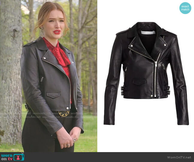 Ashville Leather Moto Jacket by Iro worn by Kirby Anders (Maddison Brown) on Dynasty