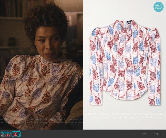 Bayani printed Lyocell blouse by Isabel Marant worn by Sophie Okonedo on Modern Love