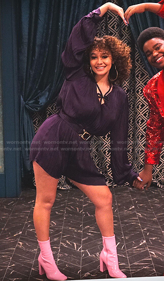 Jade's purple belted romper on Family Reunion