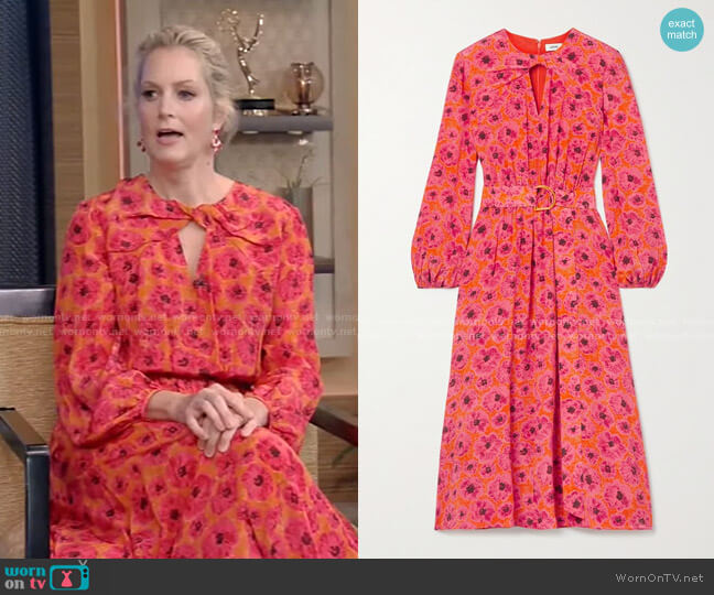 Belted Floral Print Midi Dress by Jason Wu worn by Ali Wentworth on Live with Kelly and Ryan