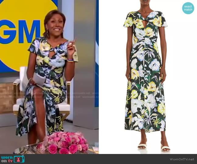 Floral Print Silk Day Dress by Jason Wu worn by Robin Roberts  on Good Morning America