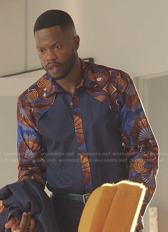 Jeff's blue african print shirt on Dynasty