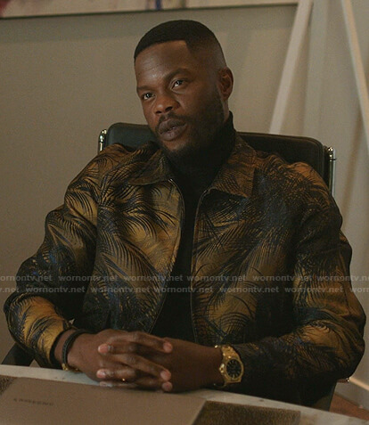 Jeff's palm tree print bomber jacket on Dynasty