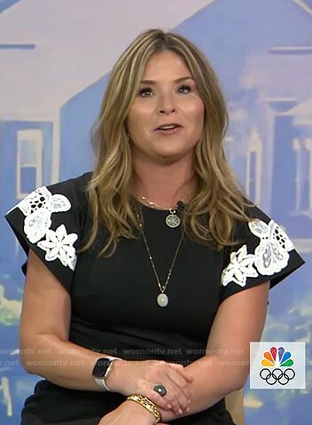 Jenna's black floral lace detail dress on Today