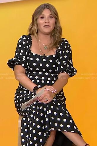 Jenna's black polka dot puff sleeve dress on Today