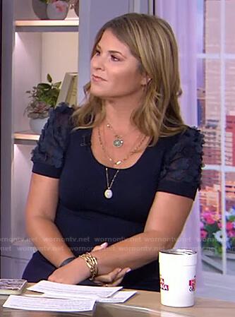 Jenna's navy floral embellished sleeve dress on Today