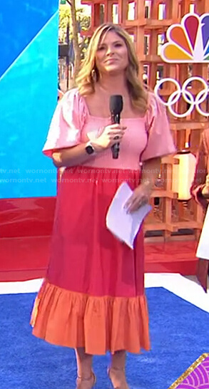 Jenna's pink, red and orange colorblock dress on Today