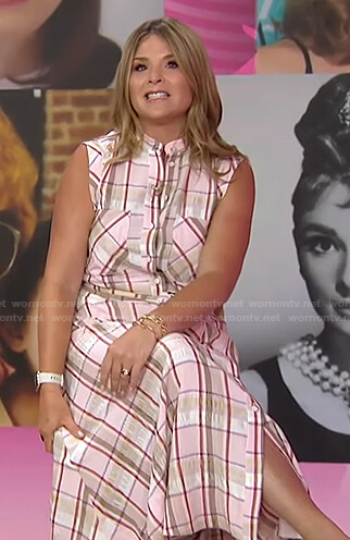 Jenna's pink plaid shirtdress on Today