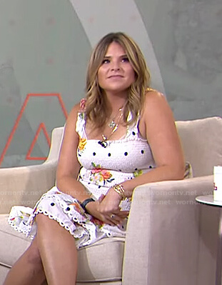 Jenna's white polka dot and floral smocked dress on Today