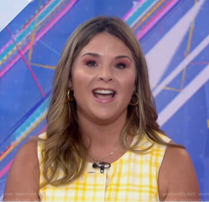 Jenna's yellow plaid button front dress on Today
