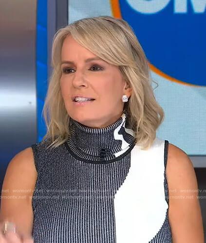 Jennifer's black and white ribbed turtleneck top on Good Morning America