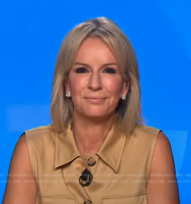 Jennifer's beige sleeveless shirtdress on Good Morning America