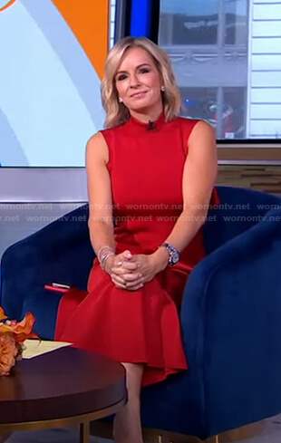 Jennifer's red mock neck sleeveless dress on Good Morning America