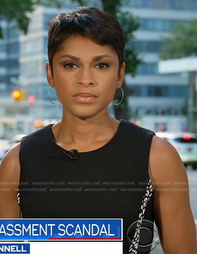 Jericka Duncan's black spotted stripe sleeveless dress on CBS Evening News