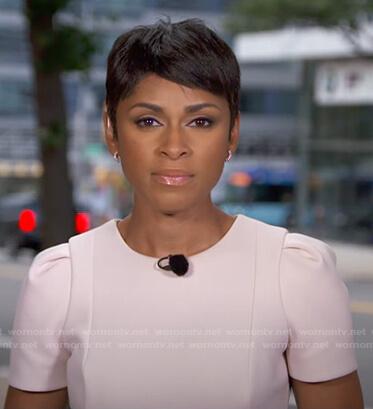 Jericka Duncan's pink short sleeve dress on CBS Evening News