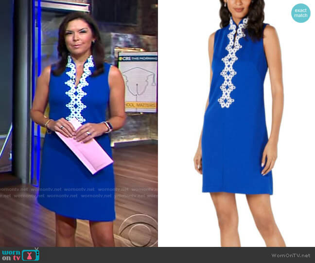 Jessica Howard Embroidered Trim Sleeveless Dress worn by Meg Oliver on CBS This Morning